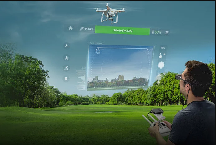 Using AR glasses and flying